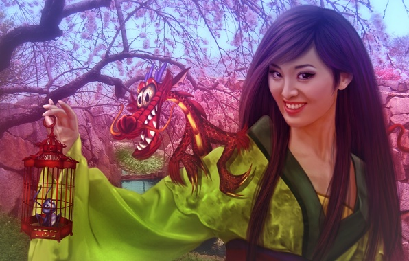 Photo wallpaper dragon, Walt Disney, fanart, Princess, fanart, girl, girl, Mulan, Sakura, flowering, animated film, princess, Walt ...