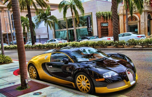 Picture Bugatti, Veyron, supercar, Black, Street, Yellow