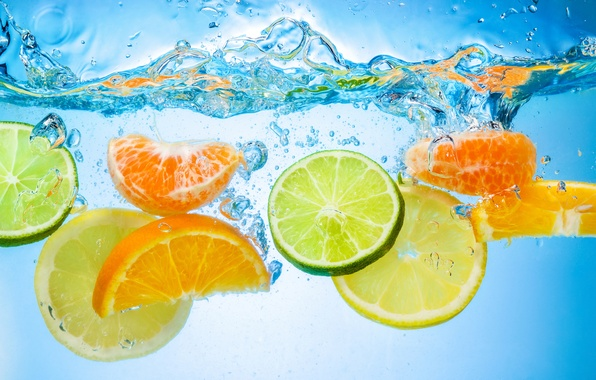 Picture water, citrus, slices