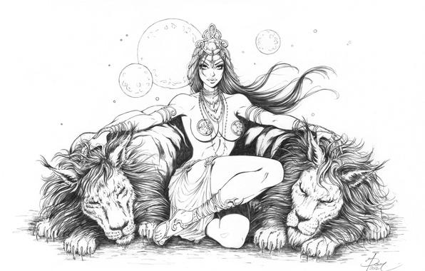 Picture animals, look, predators, pencil, fantasy, lions, Dejah Thoris., Prenessa Mars, Dejah Thoris