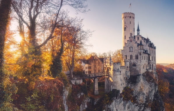 Picture autumn, light, castle, Germany, haze