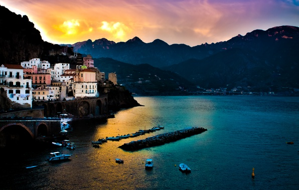 Picture sea, sunset, mountains, Italy, Amalfi, Italian, Tyrrhenian Sea