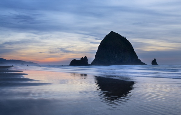 Picture the sky, clouds, sunset, the ocean, rocks, coast, the evening, USA, Oregon