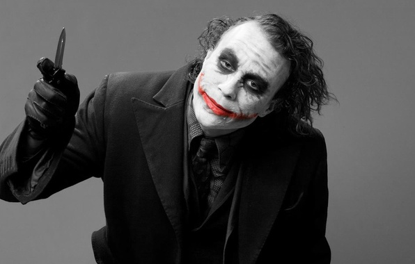 Picture smile, grey, background, Joker, the film, blood, Batman, JOKER, costume, knife, scar, Batman, the dark ...