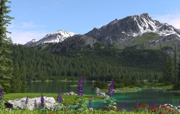 Picture trees, flowers, mountains, nature, river, coniferous