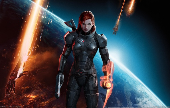 Picture girl, space, weapons, explosions, ships, Earth, space, red, guns, girl, armor, Earth, red hair, green …
