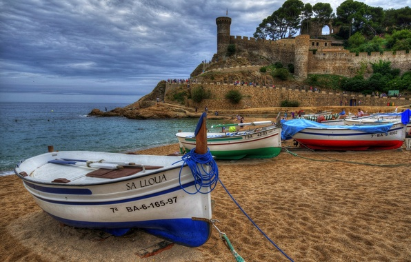 Picture sand, sea, beach, coast, boats, fortress, Spain, Spain, Catalonia, Costa Brava, Catalonia, The Balearic sea, …