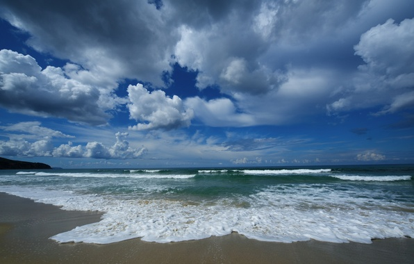 Picture sand, sea, wave, beach, the sky, water, clouds, landscape, nature, blue, shore, wave