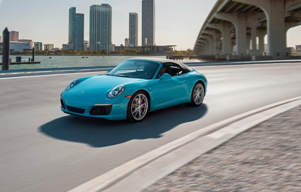 Picture car, auto, city, 911, Porsche, wallpaper, convertible, turquoise, road, Cabriolet, Carrera S