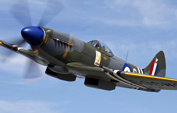 Picture the sky, clouds, flight, retro, the plane, fighter, pilot, Spitfire