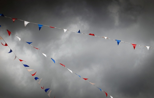 Picture the sky, storm, flags