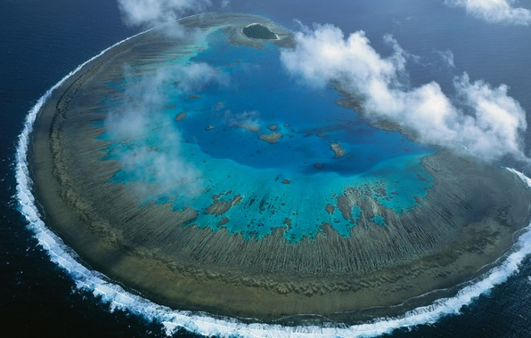 Picture sea, Australia, panorama, The great barrier reef, coral Atoll