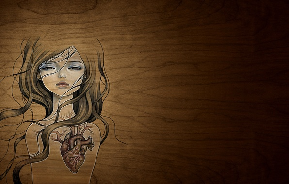 Picture girl, heart, figure, art, Style, creative