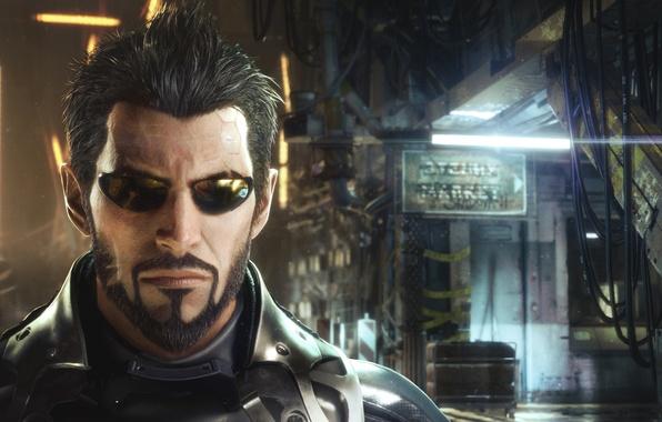 Picture hair, lamp, head, glasses, armor, beard, cyborg, Square Enix, Adam Jensen, Adam Jensen, cyborg, Deus …