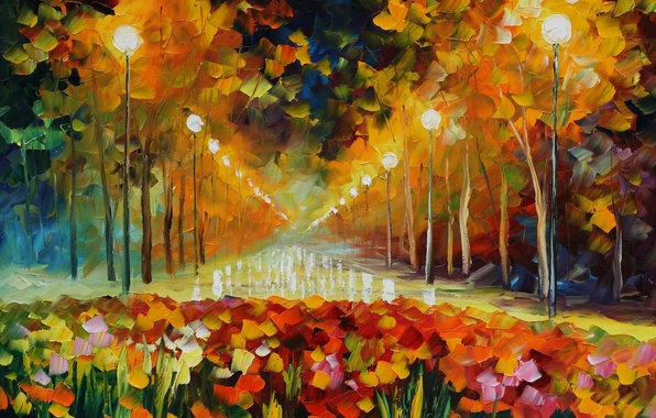 Picture light, street, picture, lights, painting, Leonid Afremov