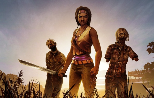 Picture Sunset, Girl, Grass, Look, Trees, Building, Weapons, Chain, Art, Zombies, Headband, The Walking Dead, Michonne, …