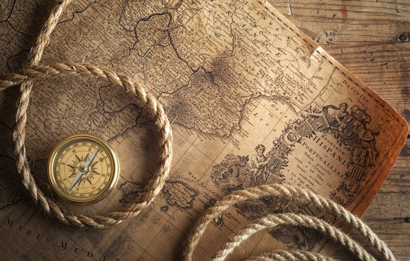 Picture table, map, compass, rope