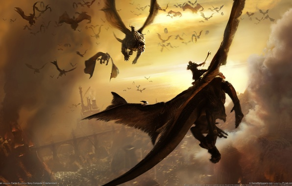 Picture the city, war, dragons, the battle, riders, in the fire, lair