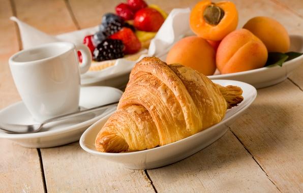 Picture tea, coffee, food, Breakfast, Cup, fruit, cup, fruit, drink, coffee, croissants, growing, breakfast, tea