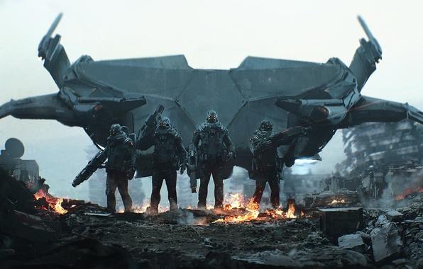 Picture the city, fiction, fire, destruction, soldiers, helmet, armor, ruins, special forces