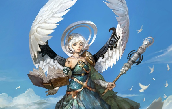 Picture the sky, girl, birds, wings, angel, book