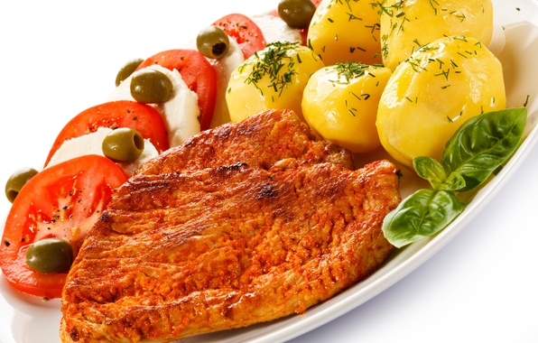 Picture meat, vegetables, tomatoes, olives, cheese, potatoes, meat, tomato, steak
