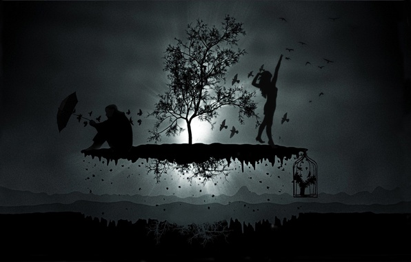 Picture BACKGROUND, WOMAN, MALE, LIGHT, DARK, RAYS, PACK, BIRDS, SILHOUETTES, CELL, UMBRELLA