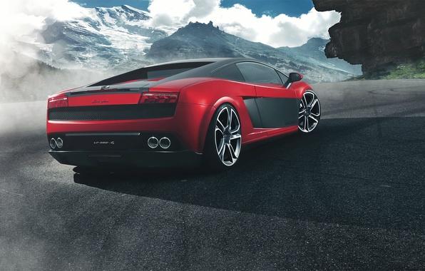 Picture mountains, red, Lamborghini, red, Gallardo, Lamborghini, rear, Gallardo, LP 560-4, Fernandez World Photography
