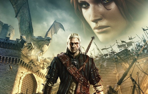 Picture look, castle, fire, dragon, sword, medallion, the Witcher, scar, The Witcher 2: Assassins of Kings, …