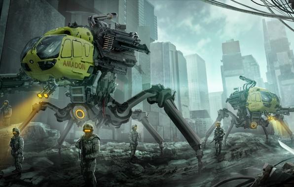Picture the city, fiction, art, destruction, soldiers