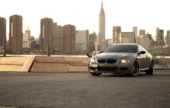 Picture the city, black, BMW, BMW, Matt, skyscrapers, megapolis, 645i, 6 Series, E63