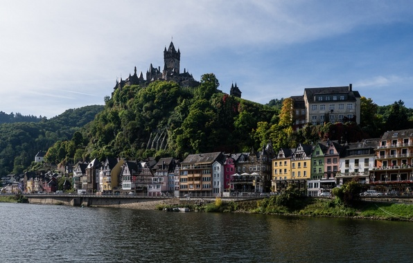 Picture castle, building, Germany, promenade, Germany, Cochem, Cochem, the river Moselle, Moselle River