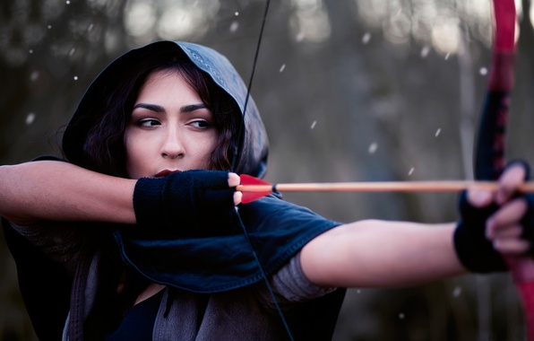 Picture girl, bow, arrow, string, James Stewart