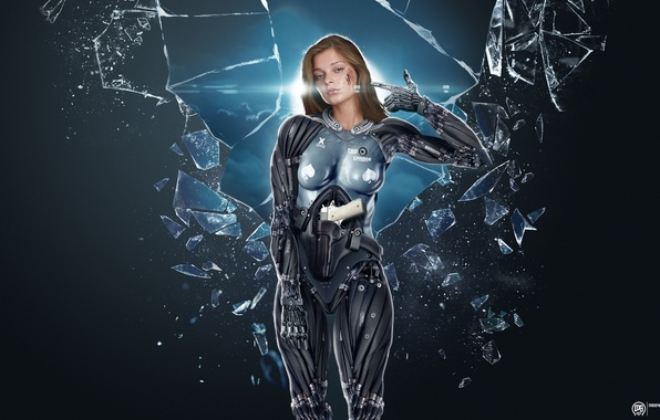 Picture fragments, glare, weapons, blood, Girl, cyborg, grey background, photo manipulation, art by MadSpike