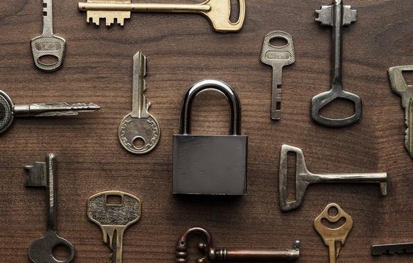 Picture metal, wood, key, lock, locksmith