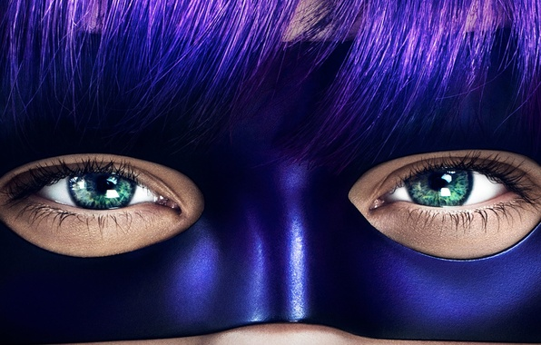 Picture eyes, look, eyelashes, mask, kick, hit girl, bangs, Kick Ass 2