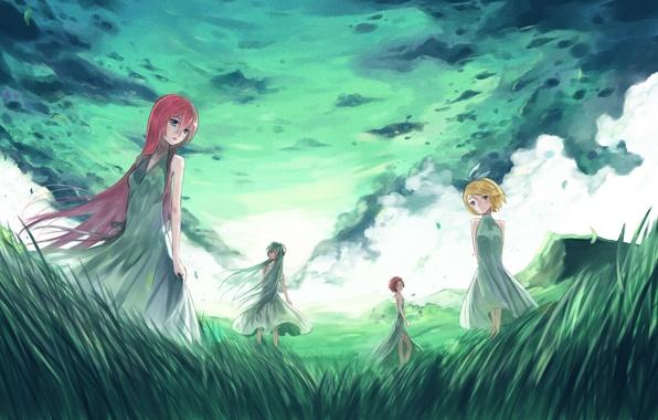Picture the sky, grass, clouds, nature, girls, art, vocaloid, hatsune miku, megurine luka, kagamine rin, Vocaloid, …