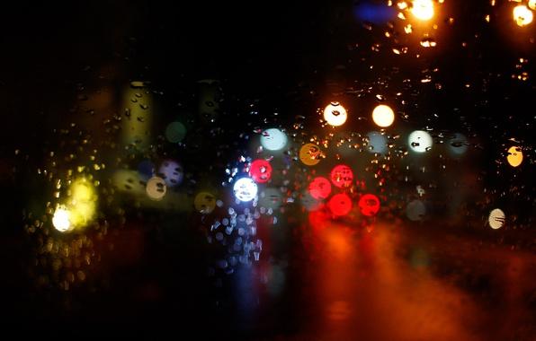 Picture lights, glass, night, bokeh, drops, raining, globes