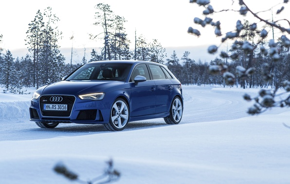 Picture photo, Audi, Winter, Blue, Snow, Car, Sportback, RS3, 2015, Metallic