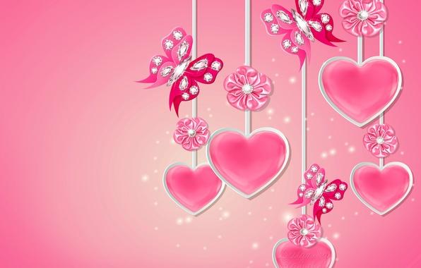 Picture butterfly, heart, diamonds, love, bow, heart, pink, romantic, butterflies, diamonds, Design by Marika