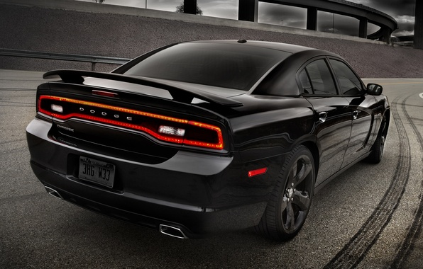 Picture road, the sky, black, 2012, Dodge, freeway, rear view, dodge, charger, Blacktop, charger, version, special, …