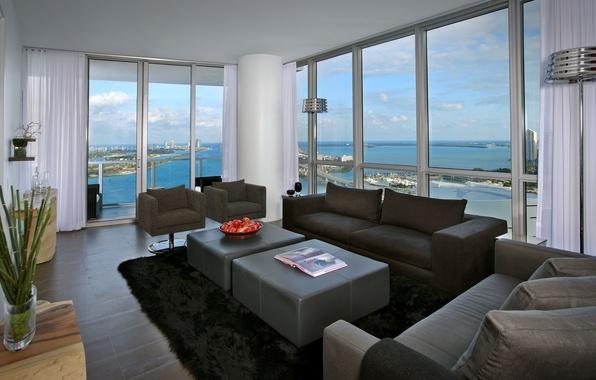 Picture landscape, bridge, the city, table, room, Wallpaper, apples, interior, carpet, chair, window, apartment, sofas, the …