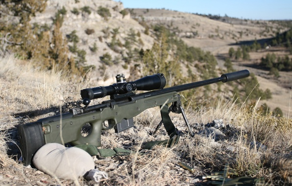 Picture Optics, Wallpaper, Weapons, Landscape, Wallpapers, Rifle, Weapons, Optical sight, Sniper, Muffler, L96, Sniper rifle, L96