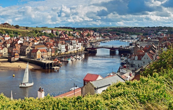 Picture the sky, clouds, trees, landscape, bridge, river, boat, England, home, sail, England, North Yorkshire