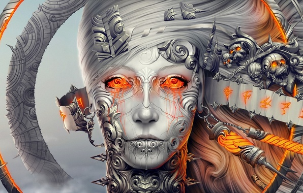 Picture girl, decoration, metal, face, skull, robot, ring, head, characters, art, tape