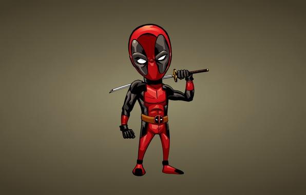 Picture red, minimalism, sword, comic, deadpool, deadpool