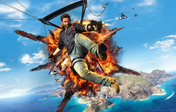 Picture the sky, water, weapons, island, home, battle, flight, helicopter, the plane, Square Enix, hook, Just …