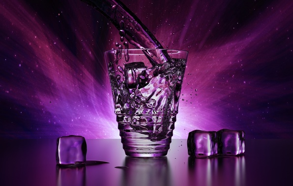 Picture ice, purple, water, drops, light, squirt, transparent, glass, rendering, cubes, Shine, glass, ice, beauty, ice, …