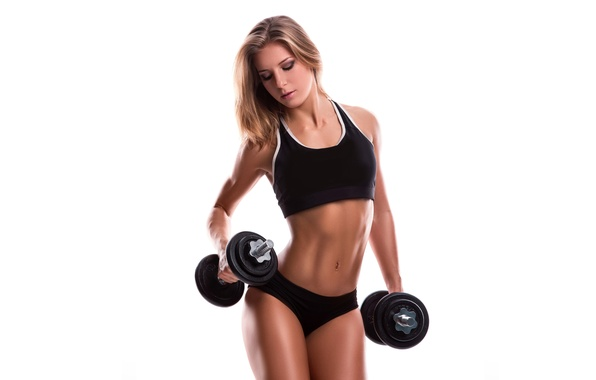 Picture girl, face, style, hair, body, figure, sports, dumbbells
