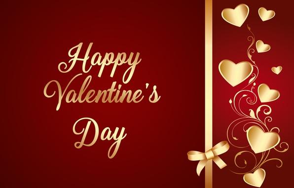Picture love, hearts, golden, love, Valentine, romantic, hearts, Valentine's Day, luxury, bow, Happy, gradient